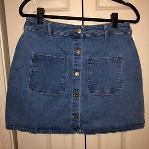 Button-down Denim Skirt